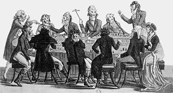 immagine di sala da gioco e giocatori che usano la martingala nel 1800.